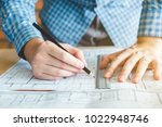architect or engineer working...   Shutterstock . vector #1022948746