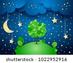 surreal night with hanging...   Shutterstock .eps vector #1022952916