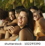 south american friends sitting... | Shutterstock . vector #102295390