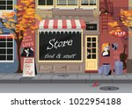 small shop on the old city...   Shutterstock .eps vector #1022954188