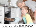 cute little girl and her... | Shutterstock . vector #1022958643