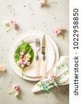 easter  spring or summer table... | Shutterstock . vector #1022958850