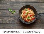 italian pasta with chicken ...   Shutterstock . vector #1022967679