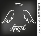 angel wings icon sketch... | Shutterstock .eps vector #1022970424