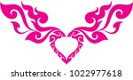 swirl tribal doodle heart with... | Shutterstock .eps vector #1022977618