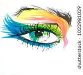 drawing. eye in colors | Shutterstock . vector #1022981029