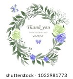 flower wreath with leaves and... | Shutterstock .eps vector #1022981773