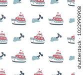 navy vector seamless patterns....   Shutterstock .eps vector #1022990908