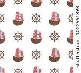 navy vector seamless patterns....   Shutterstock .eps vector #1022991898