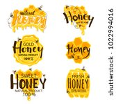 set of honey labels isolated on ... | Shutterstock .eps vector #1022994016