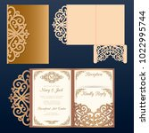 die laser cut wedding card... | Shutterstock .eps vector #1022995744