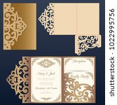 die laser cut wedding card... | Shutterstock .eps vector #1022995756