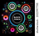 blockchain network concept  ... | Shutterstock .eps vector #1022997700