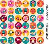 flowers, birds, mushrooms & snails pattern - stock photo