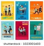 multitasking cards set with...   Shutterstock .eps vector #1023001603