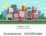town shopping area street view... | Shutterstock .eps vector #1023001660