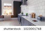 modern kitchen interior. 3d... | Shutterstock . vector #1023001768