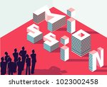 mission isometric 3d sign... | Shutterstock .eps vector #1023002458
