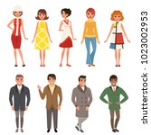 young men and women wearing... | Shutterstock .eps vector #1023002953