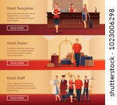 hotel personnel set of flat... | Shutterstock .eps vector #1023006298