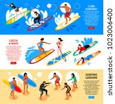 water sport horizontal banners... | Shutterstock .eps vector #1023006400