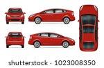 red car vector mock up.... | Shutterstock .eps vector #1023008350