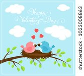 valentines background with red...   Shutterstock . vector #1023008863