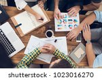 top view of the hands of the...   Shutterstock . vector #1023016270
