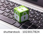 close up of lock symbol on... | Shutterstock . vector #1023017824
