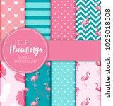 cute retro seamless flamingo... | Shutterstock .eps vector #1023018508