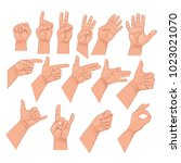set of hand gestures. vector... | Shutterstock .eps vector #1023021070