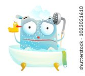 monster sad shower. little... | Shutterstock .eps vector #1023021610