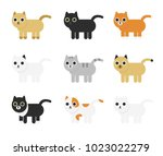different cute  and funny... | Shutterstock .eps vector #1023022279