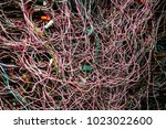 the messy electrical wires... | Shutterstock . vector #1023022600