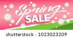 spring sale banner template... | Shutterstock .eps vector #1023023209