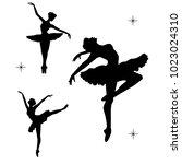 black silhoette of dancind... | Shutterstock .eps vector #1023024310