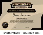certificate of honor template | Shutterstock .eps vector #1023025108
