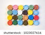several pills of mdma  extasy ... | Shutterstock . vector #1023027616