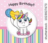 greeting card cute unicorn with ... | Shutterstock .eps vector #1023027673
