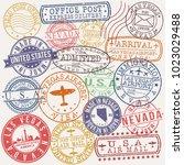 las vegas usa stamp vector art... | Shutterstock .eps vector #1023029488
