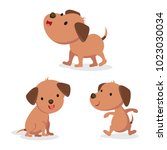 set of dog in different pose.... | Shutterstock .eps vector #1023030034