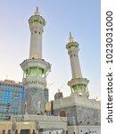 Small photo of MECCA CITY, SAUDI ARABIA-DECEMBER 23 2017:minarets of Masjidil Haram views from low angle