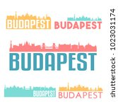 budapest hungary flat icon... | Shutterstock .eps vector #1023031174