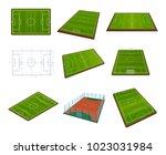 set of realistic football field ... | Shutterstock .eps vector #1023031984