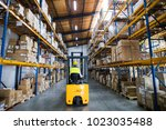 warehouse man worker with... | Shutterstock . vector #1023035488