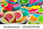 close up colorful sugary candy   Shutterstock . vector #1023035938