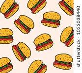 pattern hamburger. vector... | Shutterstock .eps vector #1023038440