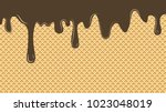 dripping chocolate ice cream... | Shutterstock .eps vector #1023048019