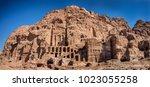 dwellings homes in petra lost... | Shutterstock . vector #1023055258