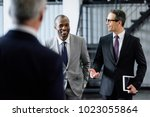selective focus of smiling... | Shutterstock . vector #1023055864